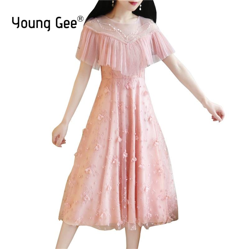 Young Gee Summer 2019 robes rose dentelle 3D fleur robe élégante femmes Slim bal bureau partie horloge manches perles robes