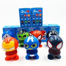 6Pcs Shaking Head Toy Action Figure Bobblehead Car Ornament Dashboard Doll 8*5cm Marvel Spider Man Iron Hulk Captain America