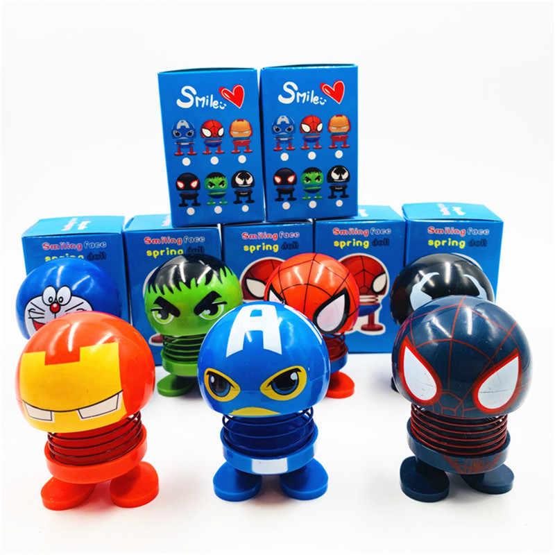 8*5 centímetros Tamanho Grande Brinquedo Do Carro Balançando A Cabeça Dança Ornamento Boneca Maravilha Homem De Ferro Capitão América Venom Spiderman acessórios Do Carro boneca