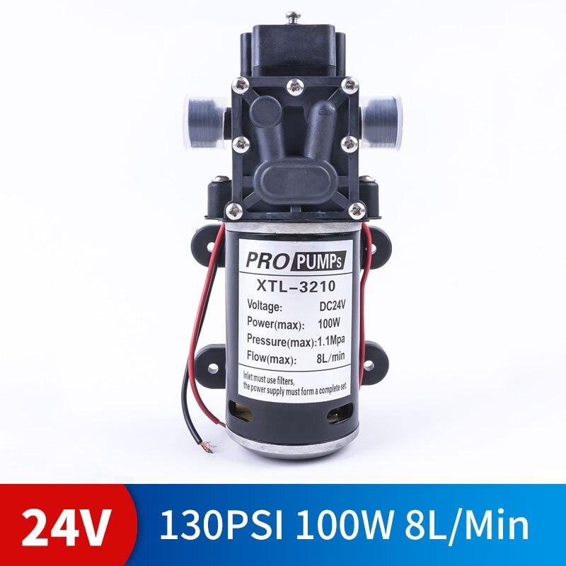 DC 24 V 100 W 130PSI 8L/Min eau haute pression diaphragme pompe auto-amorçante agricole pompe à eau électrique lavage de voiture spray