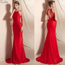 Elegant Mermaid Evening Dresses Long 2019 Halter Crystal Sleeveless Red Gowns For Women Dress Prom