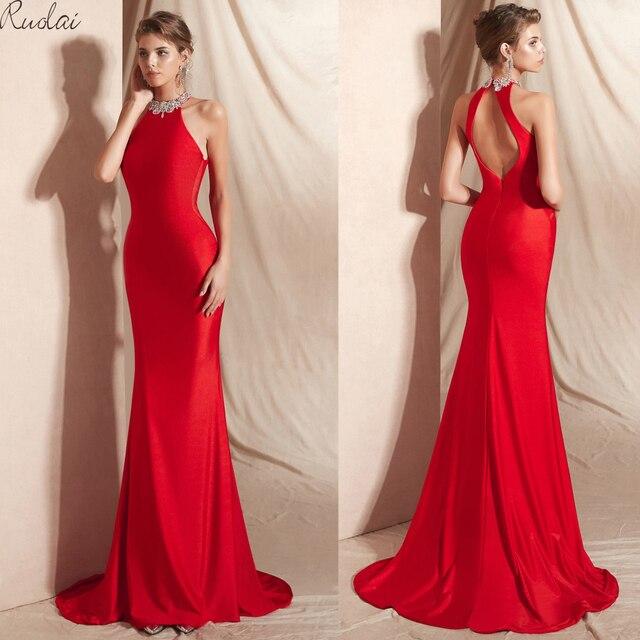Elegant Mermaid Evening Dresses Long 2019 Halter Crystal Sleeveless Red Evening Gowns For Women Evening Dress Prom Dresses