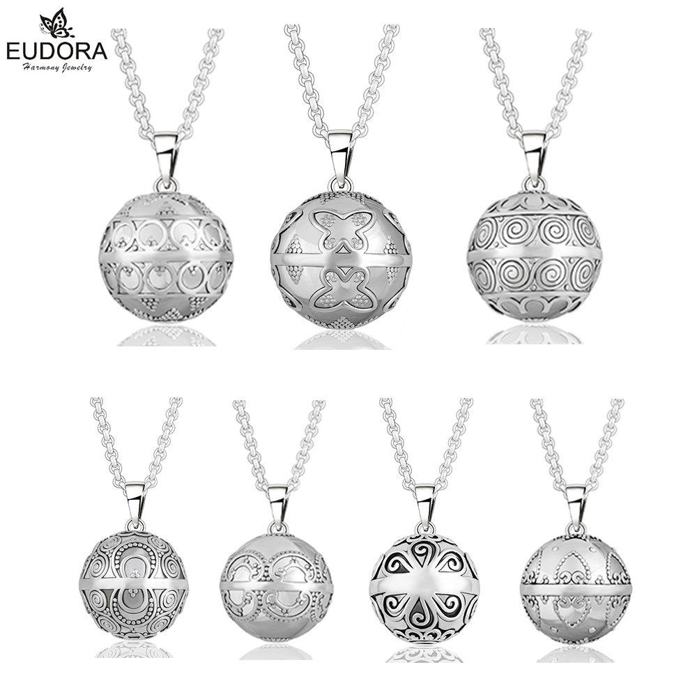 цена на Angel Caller 20mm Antique Silver Carve Eudora Harmony Ball Ringing Chime Pendant Necklace Jewelry Pregnant Gift