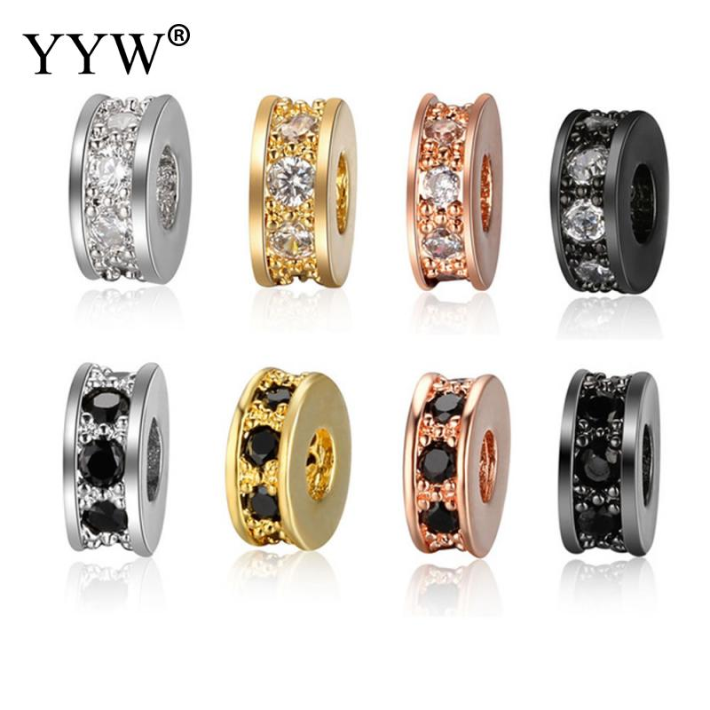 5pcs lot Basic Spacer Zircon Beads DIY Metal Bead Brass Micro Pave CZ Charm Beads for Men Jewelry Bracelet Wholesale in Beads from Jewelry Accessories