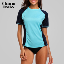 Charmleaks Short Sleeve Women Dry-Fit Shirts Rashguard Swimwear Colorblock Top Running Biking Rash Guard UPF 50+
