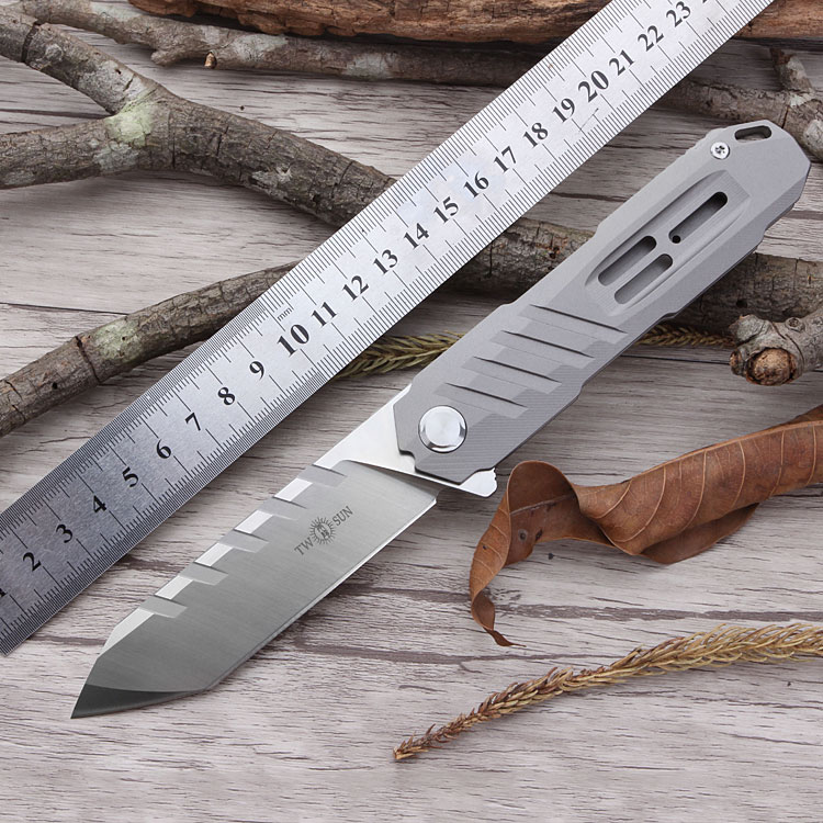 TS56 Ball bearing tumbling Pocket Knife With D2 blade knives Titanium Handle TWO SUN Knife Junting Hiking Tactical Camping Knife