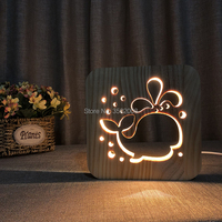 3D wooden whale hollow design night lamp warm lighting USB power lamp as a holiday gift or home club decoration