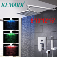 KEMAIDI Waterfall Bath Shower 8 10 12 16New Bathroom LED Rainfall Panel Wall Mounted Message Shower Set With Hand Spray