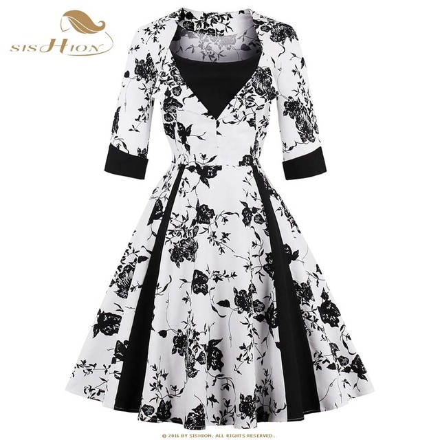 Sishion 34 Long Sleeve Big Swing Autumn Winter Floral Dress Plus