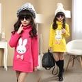 2016 nuevo invierno lindo conejo niña camisa suéter largo párrafo de Corea T-shirt