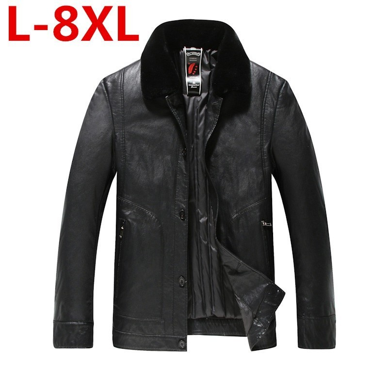 Plus Size 8XL 7X Men's Real Leather Down Jacket Men Lambskin Black Winter Warm Genuine Leather Jacket With Sheep Fur Collar Coat