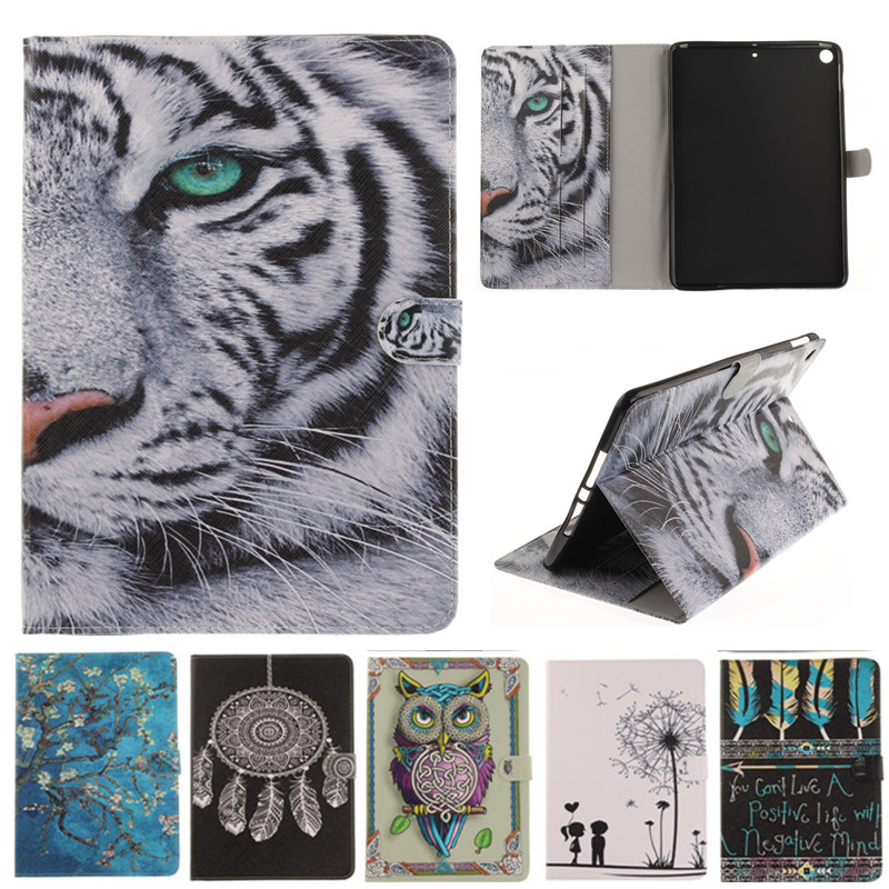 For IPad 9.7 inch 2017 A1822 A1823 Cartoon Owl Tiger Girl Stand Flip Leather Case For Apple IPad 2017 9.7 inch Tablet Cover Case new animal cartoon tiger owl pu leather stand for apple ipad pro 9 7 case with card slot protector back cover stylus