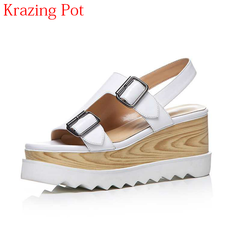 New Arrival Large Size Cow Leather Brand Summer Shoes Buckle Strap Peep Toe Thick Bottom Platform Increased Wedges Sandals L28 venchale 2018 summer new fashion sandals wedges platform women shoes height heel 10 cm buckle strap casual cow leather sandals