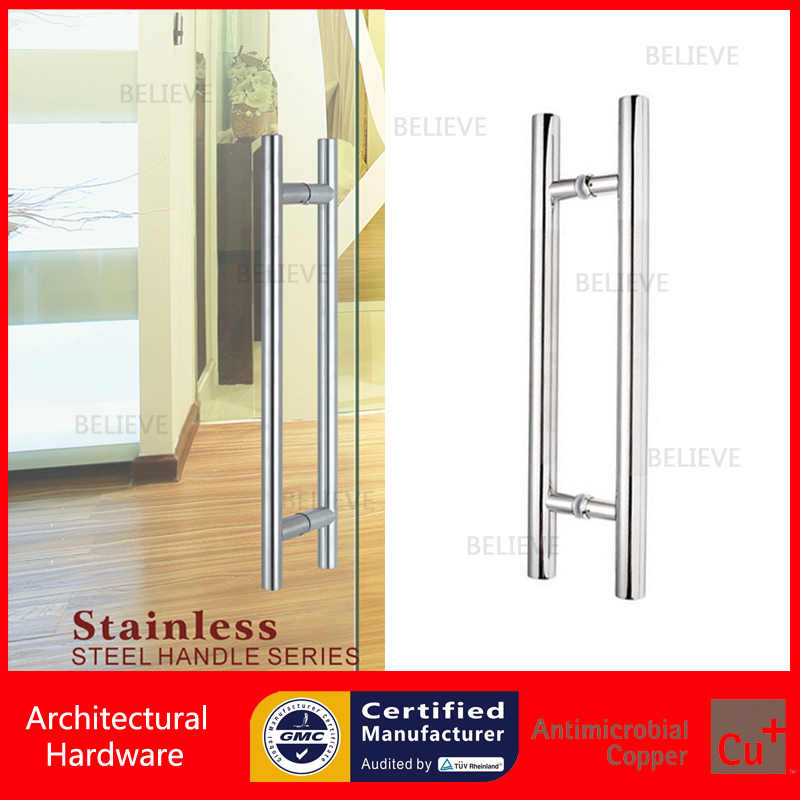 Modern Push Pull Brushed Stainless Steel Door Handle For Entrance/Entry/Shower/Glass/Shop/Store Gates PA-102-D38mm modern entrance door handle 304 stainless steel pull handles pa 104 32 1000mm 1200mm for entry glass shop store big doors