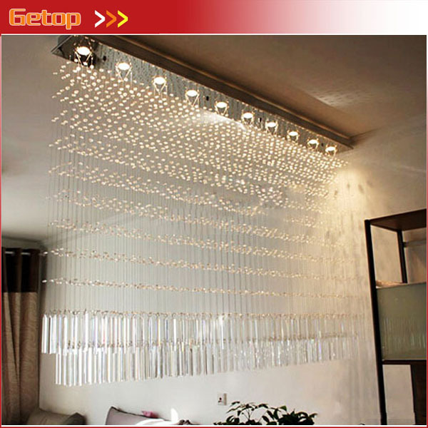 Фото Best Price Luxury K9 Crystal Chandelier Rectangular Cut Crystal Lamp LED Bead Curtain Lights Living Room Bedroom Lighting
