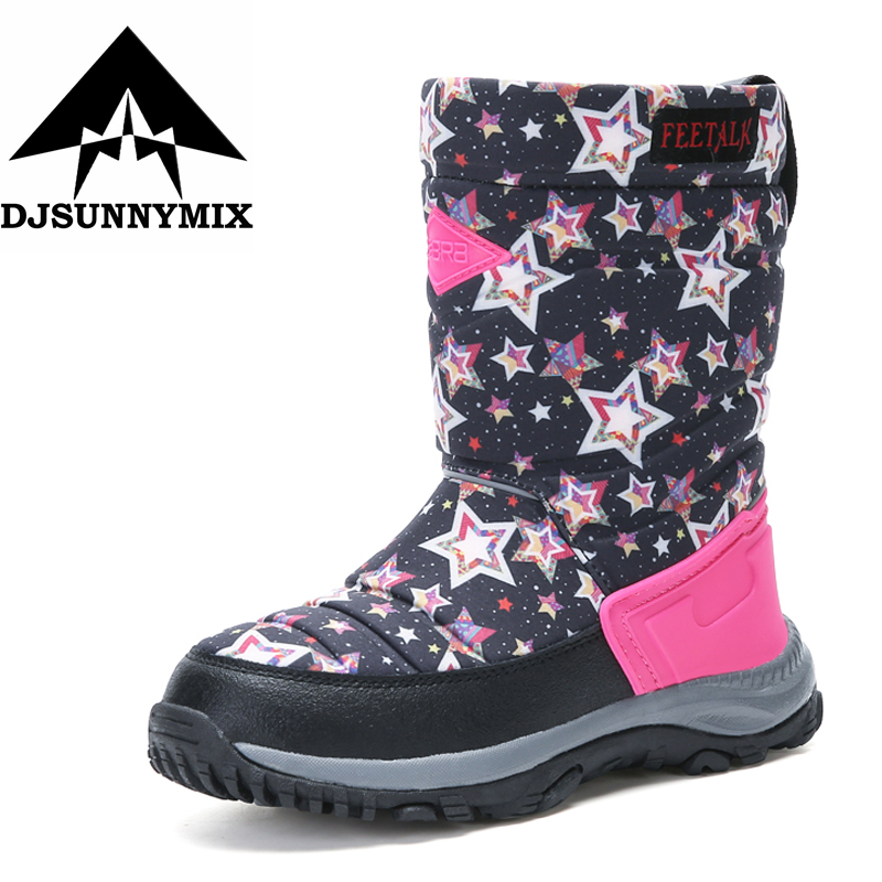 DJSUNYMIX Girls Boy Boots For Kid Snow Botas Winter Warm plush Baby Boot Waterproof Soft Bottom Non-slip high quality Kids Shoes 2016 new winter kids snow boots children warm thick waterproof martin boots girls boys fashion soft buckle shoes baby snow boots