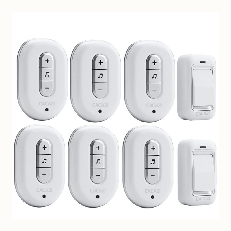 CACAZI Wireless DoorBell No need Battery Waterproof smart Door Bell Cordless 120M Remote AC 110V-220V 2 transmitters+6 Receivers kinetic cordless smart home doorbell 2 button and 1 chime battery free button waterproof eu us uk wireless door bell
