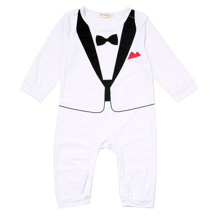 2016 Sale Cotton Covered Button Full Baby Costume New Kids Boys Romper Two Piece Set Long Sleeve O-neck Fashion Casual Outfit