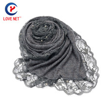 Soft Gray Lace Long Scarf