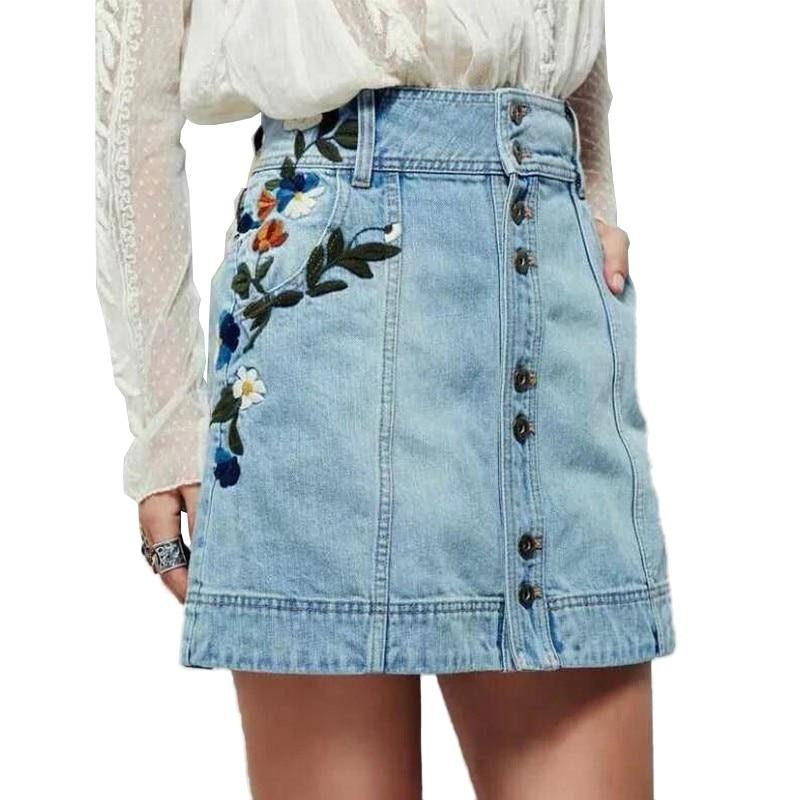 2017 New Summer Light Blue Denim A Line Skirt Flowers Embroidery Women Vintage Short High Waist