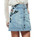 2017 New Summer Light Blue Denim A-Line Skirt Flowers Embroidery Women Vintage Short High Waist Empire Floral Button Denim Skirt