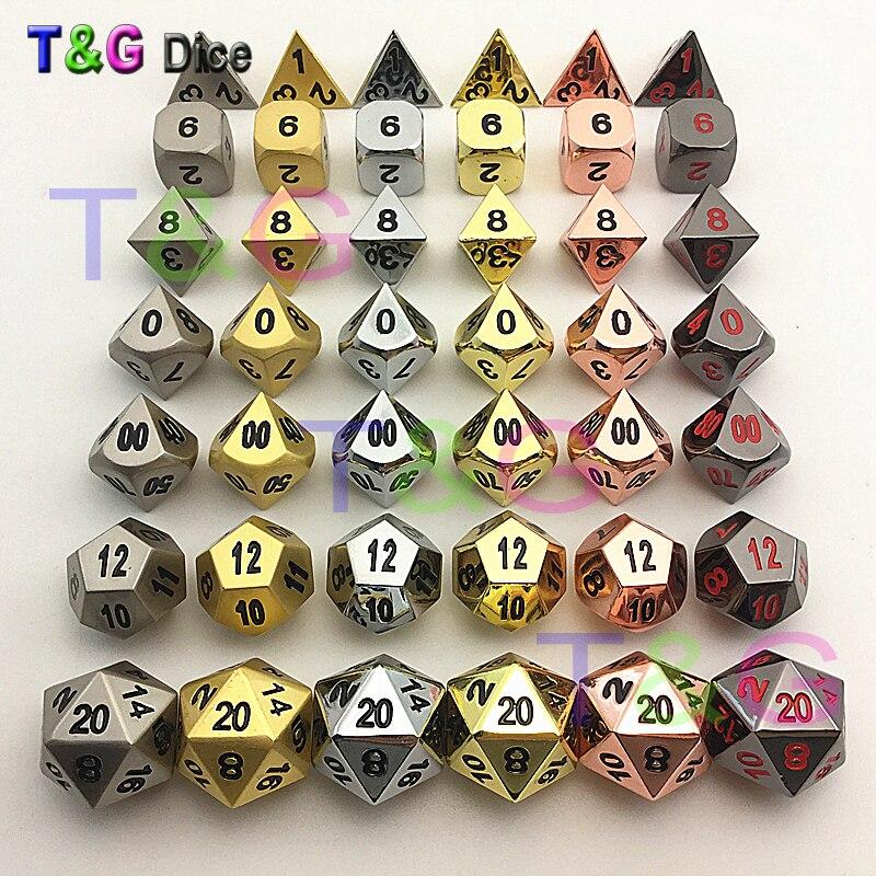 High Quality 6 SETS Metal Polyhedral Digital Dice for D&D Board Game d4 d6 d8 d10 d10% d12 d20High Quality 6 SETS Metal Polyhedral Digital Dice for D&D Board Game d4 d6 d8 d10 d10% d12 d20