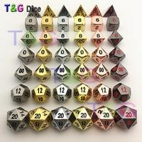 High Quality 6 SETS Metal Polyhedral Digital Dice for D&D Board Game d4 d6 d8 d10 d10% d12 d20