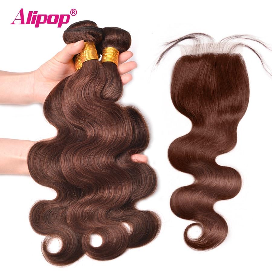 4 Human Hair Bundles With Closure 4PCS ALIPOP Light Brown Color Peruvian Body Wave Hair
