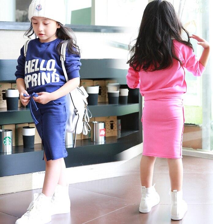 WENDYWU NEW Sets 2017 Autumn Children Girls Long Sleeve Sweatshirt & Straight Skirt 2pcs Girls Back to School Outfits studio m new teal marled long sleeve sweatshirt s $68 dbfl