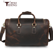 Vintage Crazy Horse leather men travel bags big luggage & duffle Large tote cow fashion brand Man Travel Bags