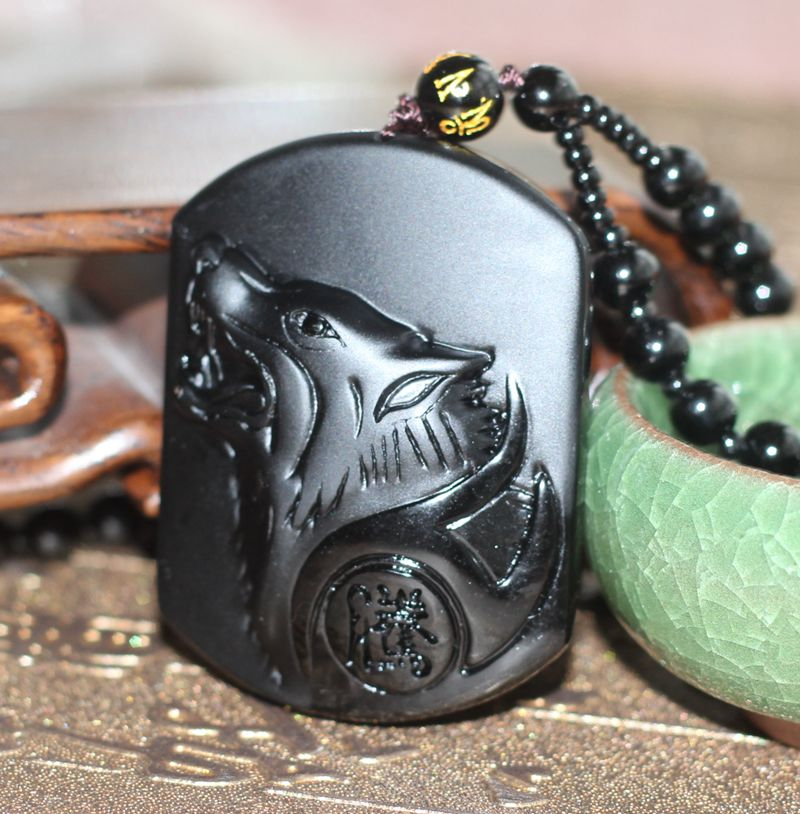 Natural black obsidian carving wolf head amulet pendant free natural black obsidian carving wolf head amulet pendant free necklace obsidian blessing lucky pendants fashion jewelry in pendants from jewelry mozeypictures Choice Image