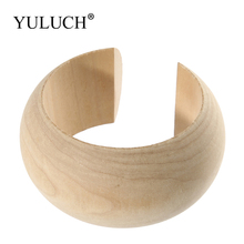 YULUCH DIY Bangle Large Size Round Natural Wooden Simple Bangles Wood Bracelet Jewelry For Women/Ladies