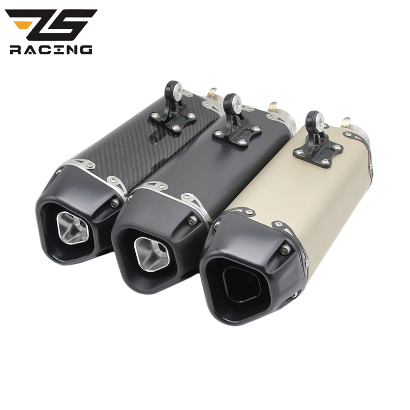 ZS Racing Universal Motorcycle Exhaust Aarapovic Modified Scooter Exhaust Muffler Fit For Most Motorcycle ATV Pit Bike Moto