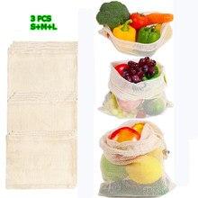 Многоразовые мешки для производства, натуральные хлопковые сетки, нулевые отходы, органические хлопковые сетки для производства овощей, моющиеся сумки на шнурке