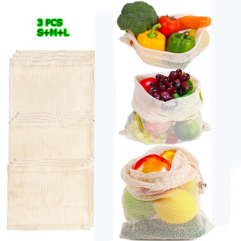 Reusable Produce Bags Natural Cotton Mesh Zero Waste Organic Vegetable Bag Washable Drawstring