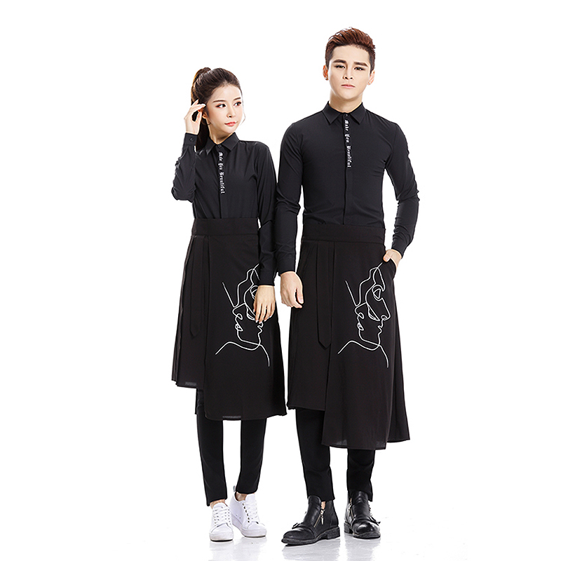 Salon Hairdressing Black Long Sleeve Letter Shirt & Printing Apron Set Styling Suit for Young Male & Female Hairdresser U1008Salon Hairdressing Black Long Sleeve Letter Shirt & Printing Apron Set Styling Suit for Young Male & Female Hairdresser U1008