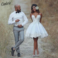 2020 African Short Mini A Line Wedding Dresses Sweetheart Sleeveless Lace Appliques Knee Length Black Girl Country Veatido