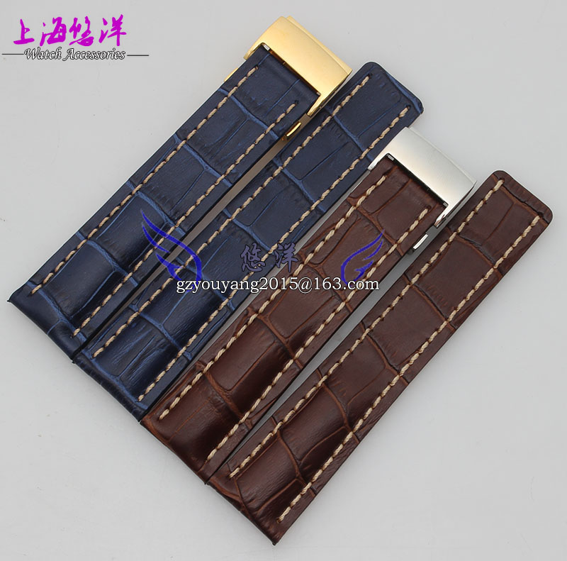 Watch band 22mm 24mm New Mens Top Grade quality Blue Brown Black Crocodile Pattern Genuine Leather