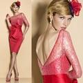 Caliente venta 2015 la dignidad rojo Backless atractivo de la rodilla longitud de tres cuartos lf2739 madre de la novia vestidos encaje ( MO8108 )
