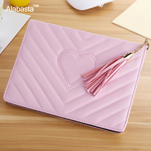 Alabasta Luxury Hanging Leather Case for funda iPad 2 3 4 Luxury Rivets Grid Tassels Flip Stand Case Smart Cover With touch pen