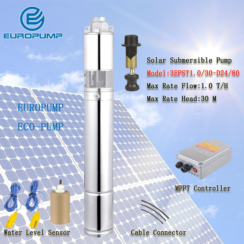 EUROPUMP MODEL(3EPST1.0/30-D24/80) Solar Submersible Deep Well Pumps,Solar Water Pump For Garden Irrigation 50mm 2 inch deep well submersible water pump deep well water pump 220v screw submersible water pump for home 2 inch well pump