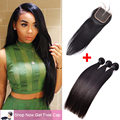 Peruvian Virgin Hair With Closure 3 Bundles Peruvian Straight Virgin Hair Human Hair Bundles With Closure 4x4 Lace Closure