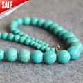 Fashion 6-14mm Turkey Turquoise beads Jasper stripe DIY stones Necklace women girls beads 18inch Jewelry making design wholesale