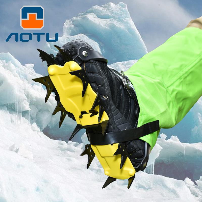 18 dents anti-dérapant Glace Neige D'escalade anti-dérapant Couvre-chaussures Pointe Crampons Crampons anti-dérapant Couvre-chaussures Groupés Pince À Glace
