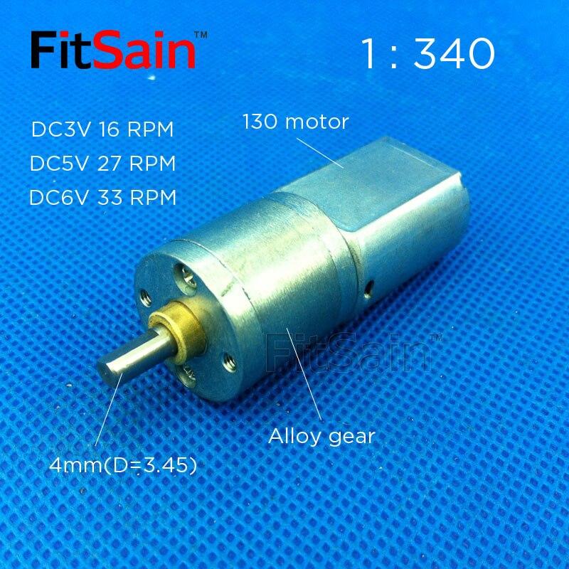 FitSain--1:340 geared motor DC3V16RPM 5V27RPM 6V33RPM slow speed alloy gear high torque gear motor