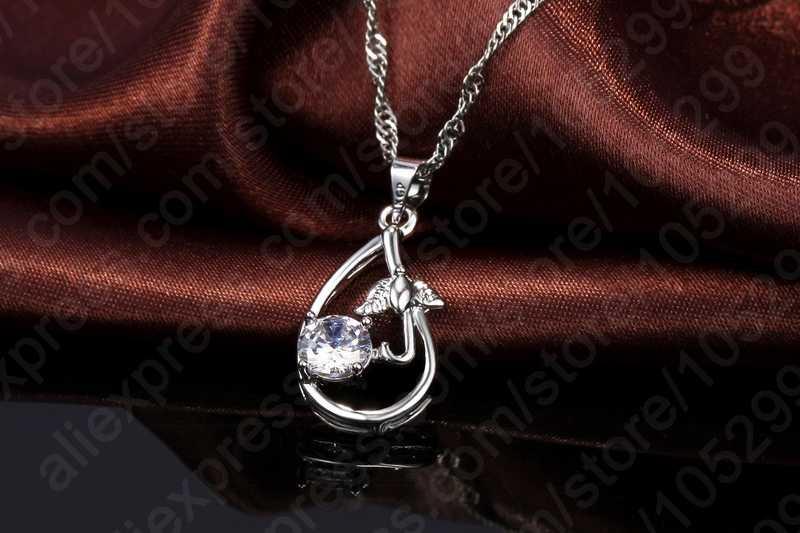 Новое поступление подарок настоящее серебро 925 пробы ювелирные изделия Кристалл CZ капли воды подвесной Зонт Женщина Ожерелье Висячие серьги свадебный набор