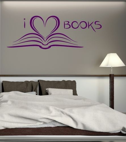 New Fashion Book Library Reading Wall Sticker Home Decor Vinyl Decals I Love Books
