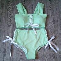 2018 Summer Women S High Waist Swimsuit Bikini Hollow Swimwear Girls Sexy Bandage Swim Wear Cross