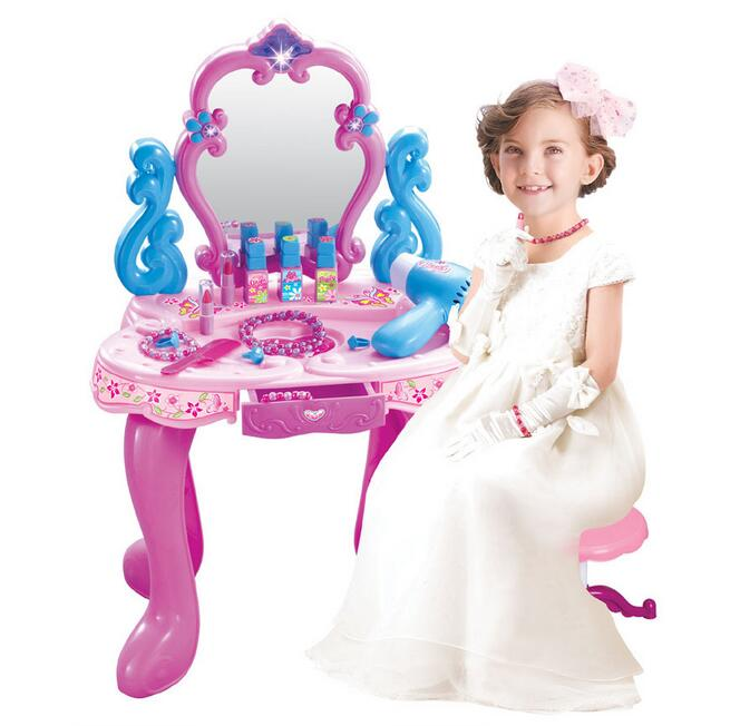 Plastic Pretend Play Children Vanity Dressing Table Playset Toys Furniture  Set Bedroom Dresser For Girls With Light Sound Gifts In Furniture Toys From  Toys ...