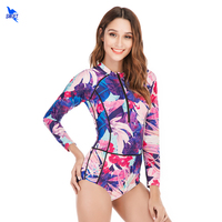 Half Zipper Floral Printed One Piece Swimsuit Women Vintage Long Sleeve Swimwear Soft Cup Bathing Suit Surfing Swimming Bodysuit